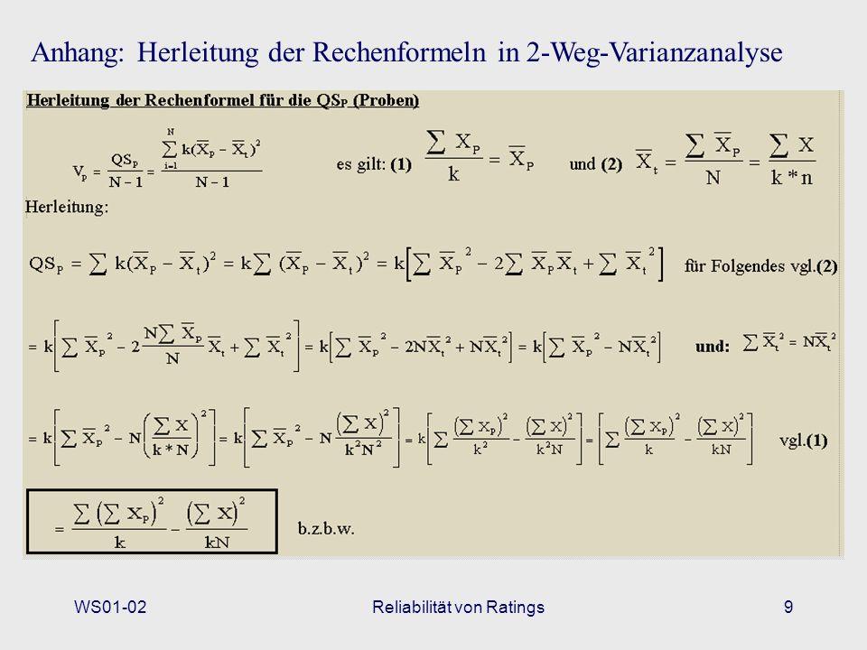 WS01-02Reliabilität von Ratings9 Anhang: Herleitung der Rechenformeln in 2-Weg-Varianzanalyse