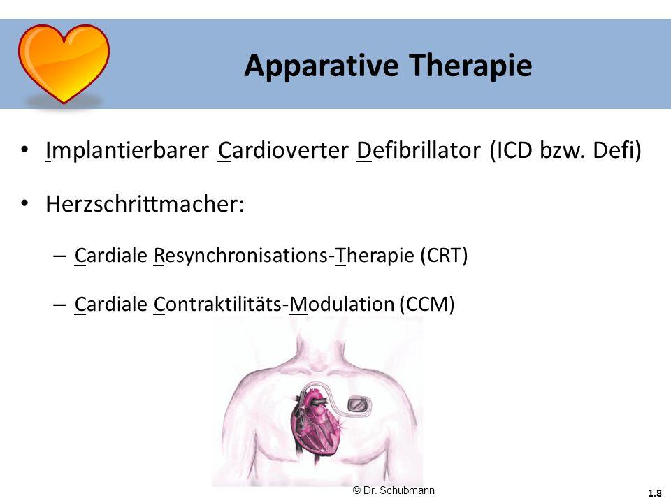 1.8 Apparative Therapie Implantierbarer Cardioverter Defibrillator (ICD bzw. Defi) Herzschrittmacher: – Cardiale Resynchronisations-Therapie (CRT) – C