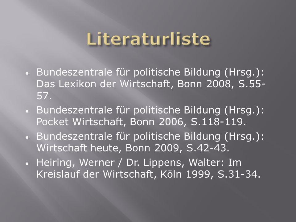Bundeszentrale für politische Bildung (Hrsg.): Das Lexikon der Wirtschaft, Bonn 2008, S.55- 57. Bundeszentrale für politische Bildung (Hrsg.): Pocket