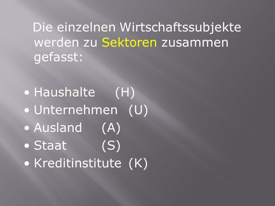 Die einzelnen Wirtschaftssubjekte werden zu Sektoren zusammen gefasst: Haushalte (H) Unternehmen (U) Ausland (A) Staat (S) Kreditinstitute (K)