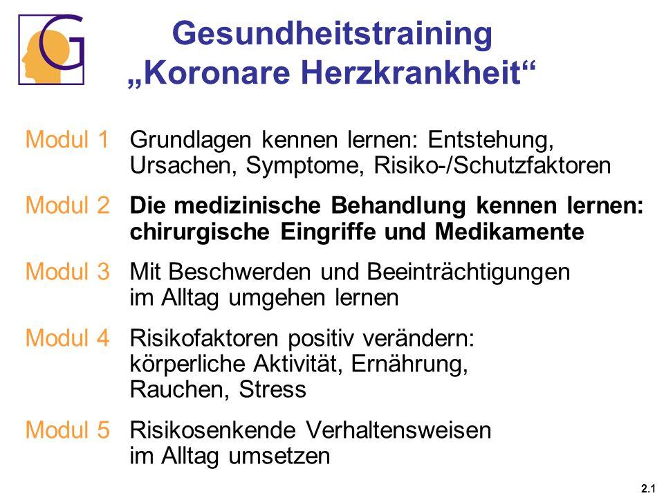 Gesundheitstraining Koronare Herzkrankheit 2.1 Modul 1 Grundlagen kennen lernen: Entstehung, Ursachen, Symptome, Risiko-/Schutzfaktoren Modul 2Die med
