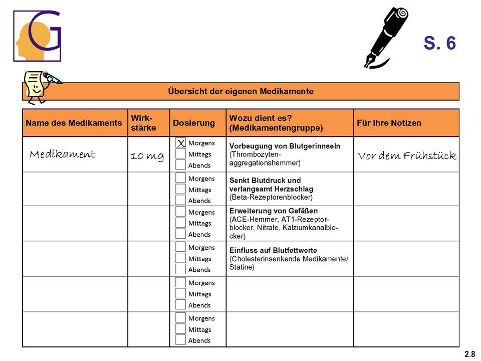 2.8 S. 6 10 mgVor dem Frühstück X Medikament