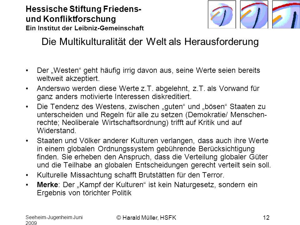 Hessische Stiftung Friedens- und Konfliktforschung Ein Institut der Leibniz-Gemeinschaft Seeheim-Jugenheim Juni 2009 © Harald Müller, HSFK12 Die Multi