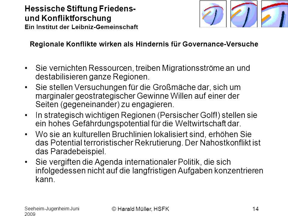 Hessische Stiftung Friedens- und Konfliktforschung Ein Institut der Leibniz-Gemeinschaft Seeheim-Jugenheim Juni 2009 © Harald Müller, HSFK14 Regionale