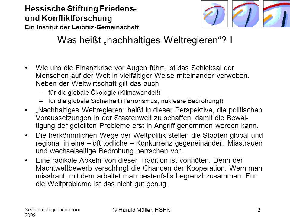 Hessische Stiftung Friedens- und Konfliktforschung Ein Institut der Leibniz-Gemeinschaft Seeheim-Jugenheim Juni 2009 © Harald Müller, HSFK3 Was heißt
