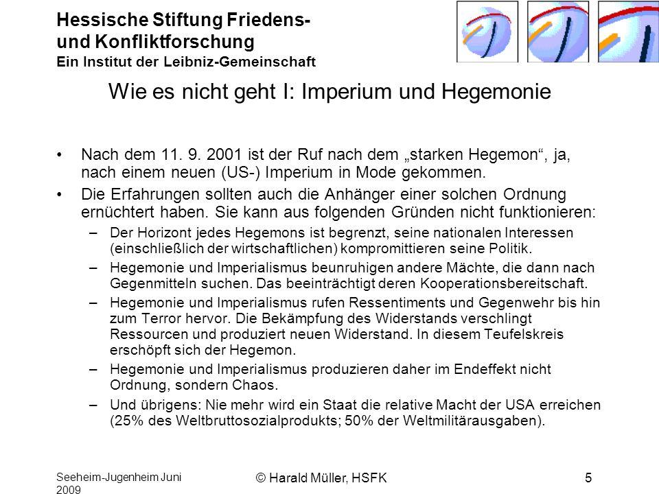 Hessische Stiftung Friedens- und Konfliktforschung Ein Institut der Leibniz-Gemeinschaft Seeheim-Jugenheim Juni 2009 © Harald Müller, HSFK5 Wie es nic