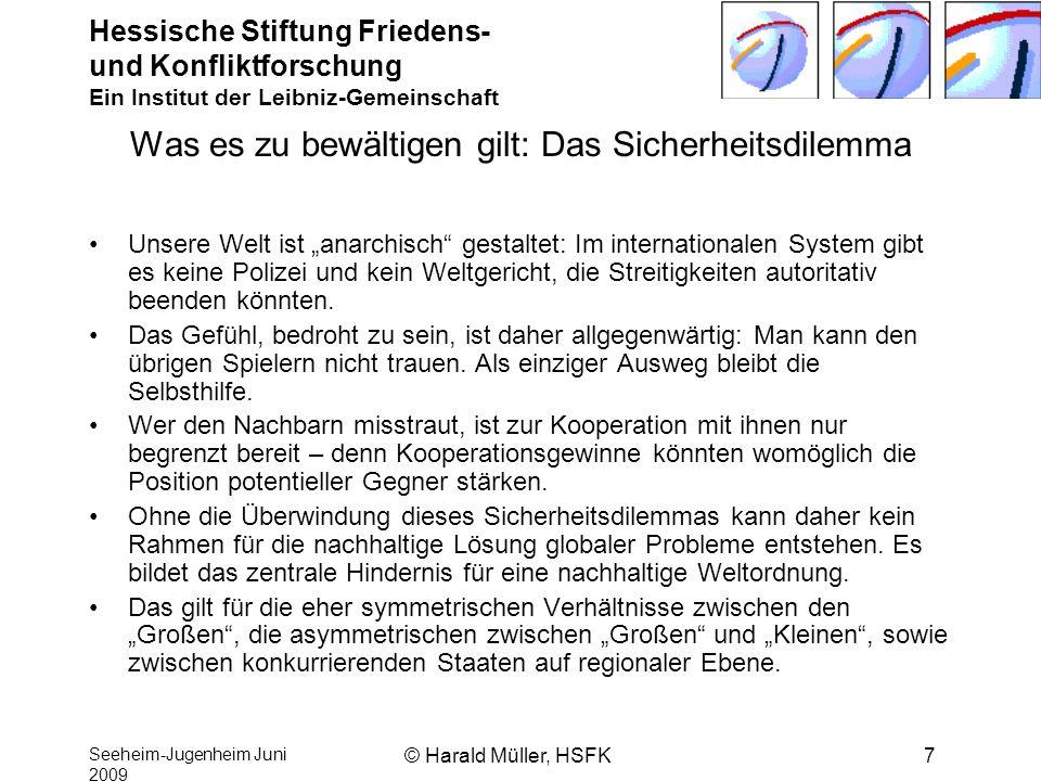 Hessische Stiftung Friedens- und Konfliktforschung Ein Institut der Leibniz-Gemeinschaft Seeheim-Jugenheim Juni 2009 © Harald Müller, HSFK7 Was es zu