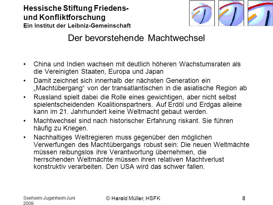 Hessische Stiftung Friedens- und Konfliktforschung Ein Institut der Leibniz-Gemeinschaft Seeheim-Jugenheim Juni 2009 © Harald Müller, HSFK8 Der bevors