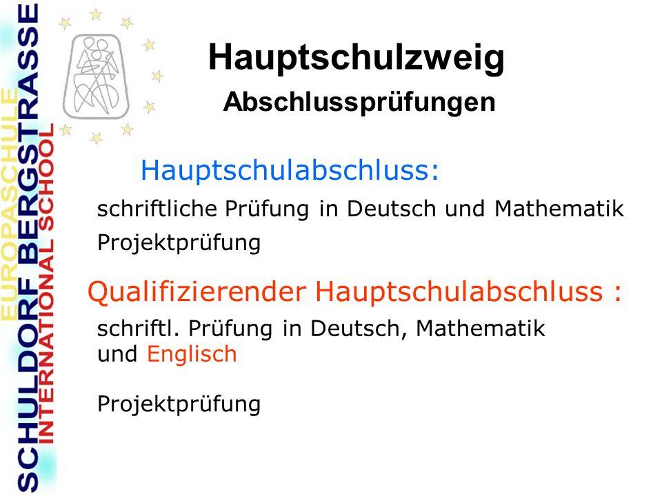 Hauptschulzweig Abschlussprüfungen Hauptschulabschluss: schriftliche Prüfung in Deutsch und Mathematik Projektprüfung Qualifizierender Hauptschulabsch