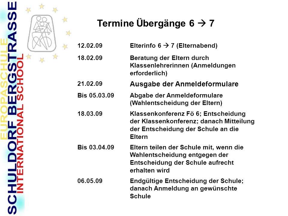 Termine Übergänge 6 7 12.02.09Elterinfo 6 7 (Elternabend) 18.02.09Beratung der Eltern durch Klassenlehrerinnen (Anmeldungen erforderlich) 21.02.09 Aus