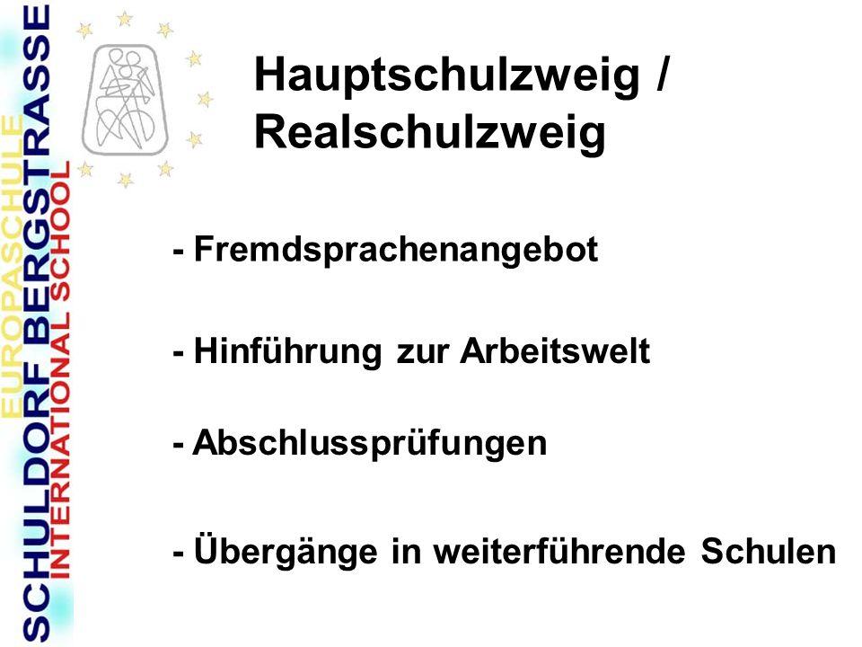Hauptschulzweig / Realschulzweig - Fremdsprachenangebot - Hinführung zur Arbeitswelt - Abschlussprüfungen - Übergänge in weiterführende Schulen