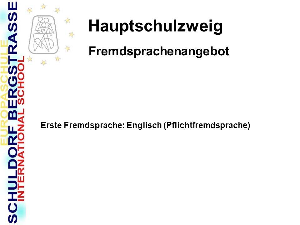 Hauptschulzweig Fremdsprachenangebot Erste Fremdsprache: Englisch (Pflichtfremdsprache)