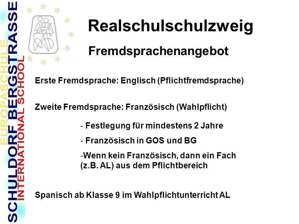 Realschulschulzweig Fremdsprachenangebot Erste Fremdsprache: Englisch (Pflichtfremdsprache) Zweite Fremdsprache: Französisch (Wahlpflicht) - Festlegun