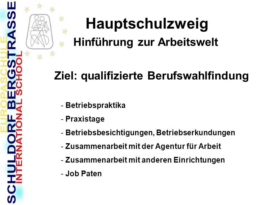 Berufswahlvorbereitung am Schuldorf - Bergstraße (Hauptschulzweig) (Stand: Januar 2007) SBS Hauptschulzweig ab Klasse 7 (durchgehend) Berufswahlpass Themenelternabende Betriebsbesichtigungen Arbeitslehre (3-stündig) Elternabend (Übergang in den Beruf) allgemeine Beratung ( im Klassenverband) Besuch im BIZ Einzelberatung (monatl.