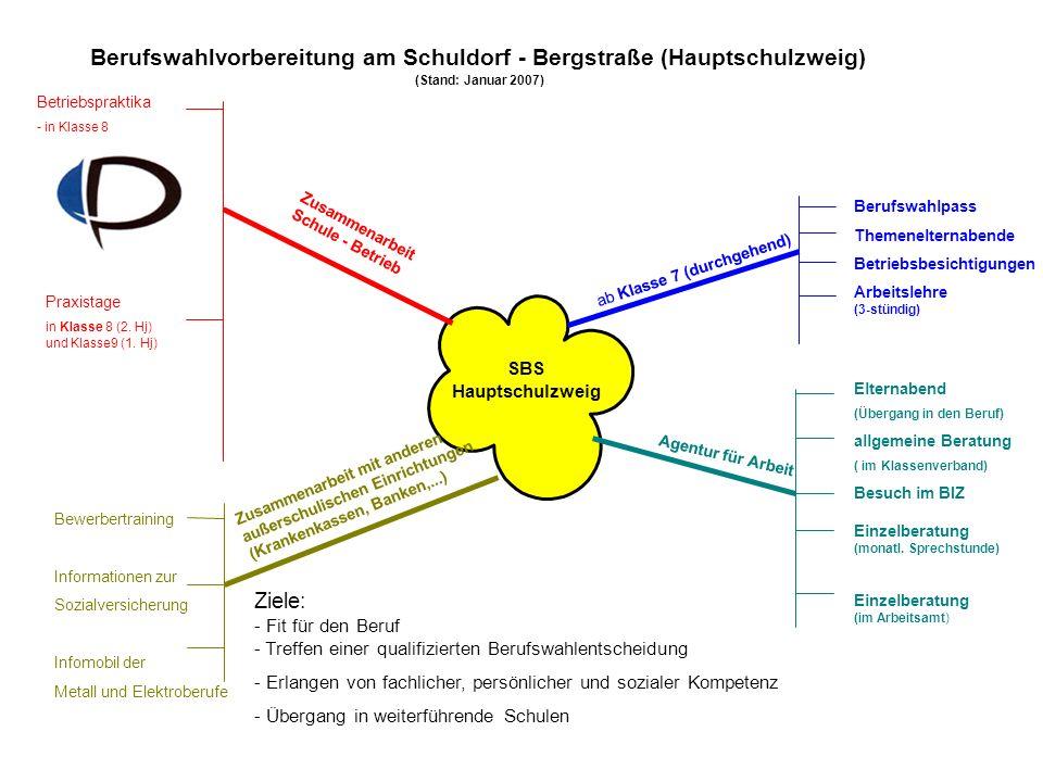 Berufswahlvorbereitung am Schuldorf - Bergstraße (Hauptschulzweig) (Stand: Januar 2007) SBS Hauptschulzweig ab Klasse 7 (durchgehend) Berufswahlpass T