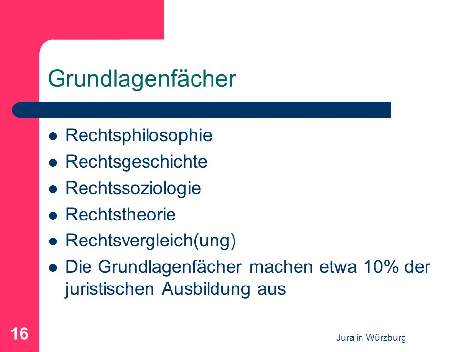 Jura in Würzburg 16 Grundlagenfächer Rechtsphilosophie Rechtsgeschichte Rechtssoziologie Rechtstheorie Rechtsvergleich(ung) Die Grundlagenfächer mache