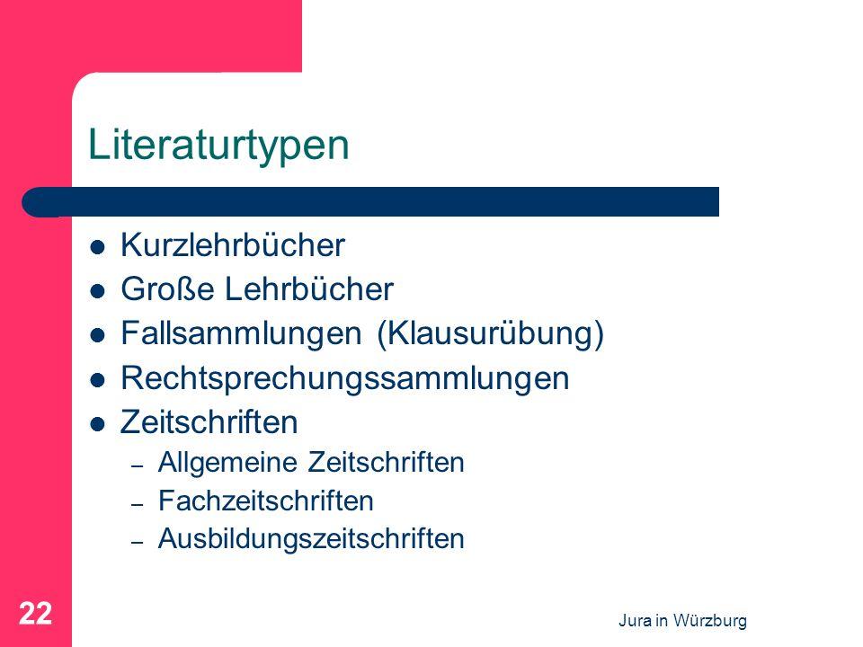 Jura in Würzburg 22 Literaturtypen Kurzlehrbücher Große Lehrbücher Fallsammlungen (Klausurübung) Rechtsprechungssammlungen Zeitschriften – Allgemeine