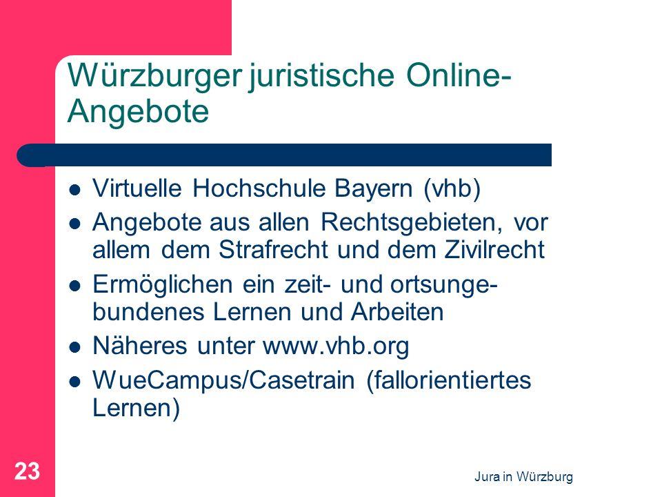 Jura in Würzburg 23 Würzburger juristische Online- Angebote Virtuelle Hochschule Bayern (vhb) Angebote aus allen Rechtsgebieten, vor allem dem Strafre