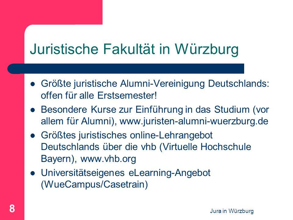 Jura in Würzburg 8 Juristische Fakultät in Würzburg Größte juristische Alumni-Vereinigung Deutschlands: offen für alle Erstsemester! Besondere Kurse z