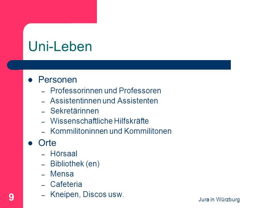 Jura in Würzburg 9 Uni-Leben Personen – Professorinnen und Professoren – Assistentinnen und Assistenten – Sekretärinnen – Wissenschaftliche Hilfskräft