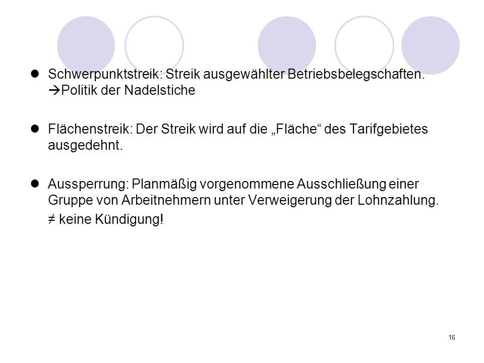 16 Schwerpunktstreik: Streik ausgewählter Betriebsbelegschaften.