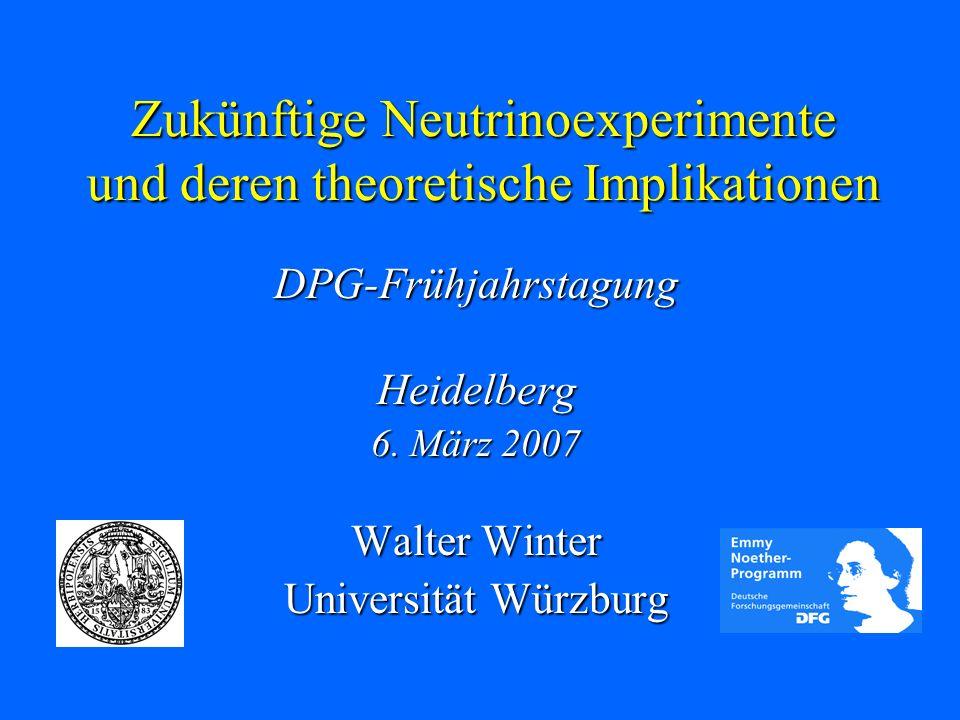 Zukünftige Neutrinoexperimente und deren theoretische Implikationen DPG-Frühjahrstagung DPG-Frühjahrstagung Heidelberg 6. März 2007 Walter Winter Univ