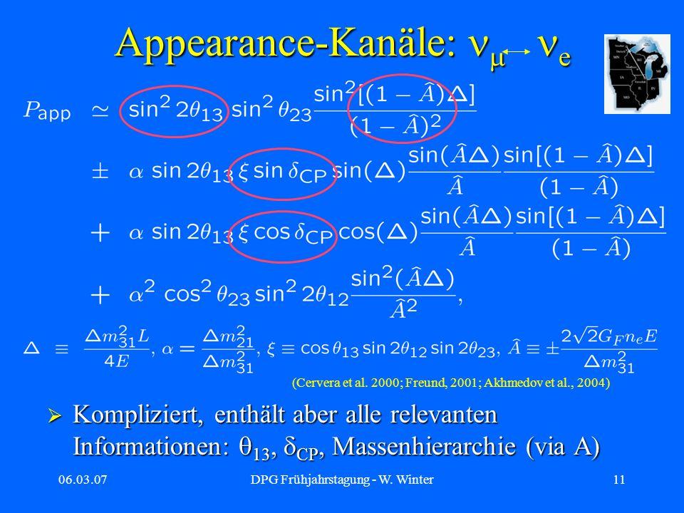 06.03.07DPG Frühjahrstagung - W. Winter11 Appearance-Kanäle: e Kompliziert, enthält aber alle relevanten Informationen: 13, CP, Massenhierarchie (via