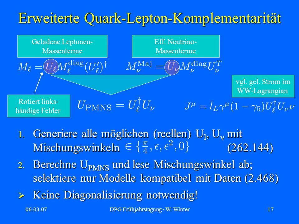 06.03.07DPG Frühjahrstagung - W. Winter17 Erweiterte Quark-Lepton-Komplementarität 1. Generiere alle möglichen (reellen) U l, U mit Mischungswinkeln(2