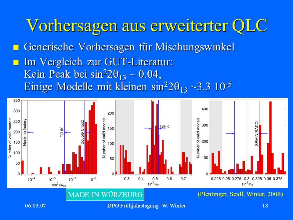 06.03.07DPG Frühjahrstagung - W. Winter18 Vorhersagen aus erweiterter QLC Generische Vorhersagen für Mischungswinkel Generische Vorhersagen für Mischu