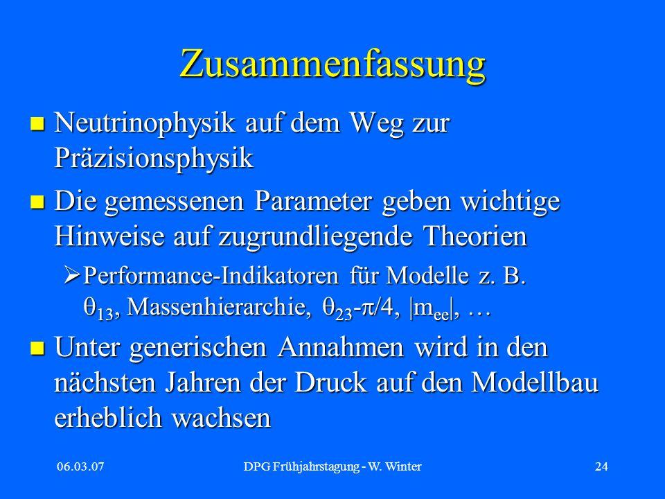 06.03.07DPG Frühjahrstagung - W. Winter24 Zusammenfassung Neutrinophysik auf dem Weg zur Präzisionsphysik Neutrinophysik auf dem Weg zur Präzisionsphy