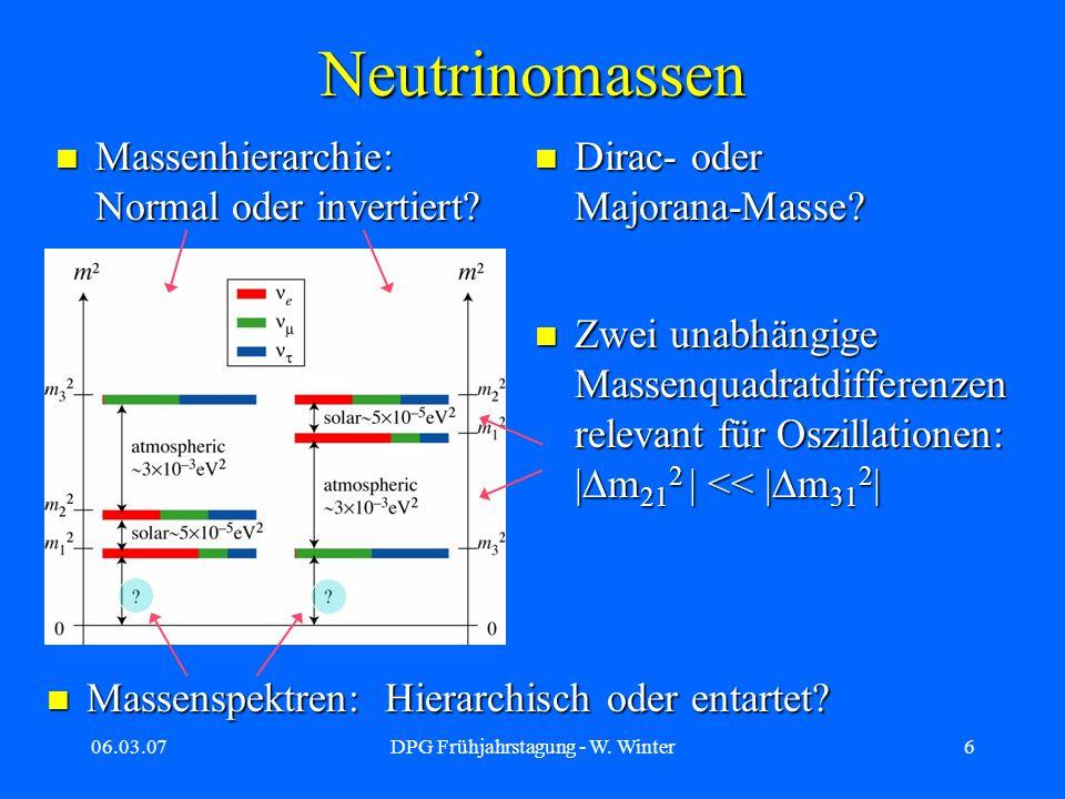 06.03.07DPG Frühjahrstagung - W. Winter6 Neutrinomassen Zwei unabhängige Massenquadratdifferenzen relevant für Oszillationen: | m 21 2 | << | m 31 2 |