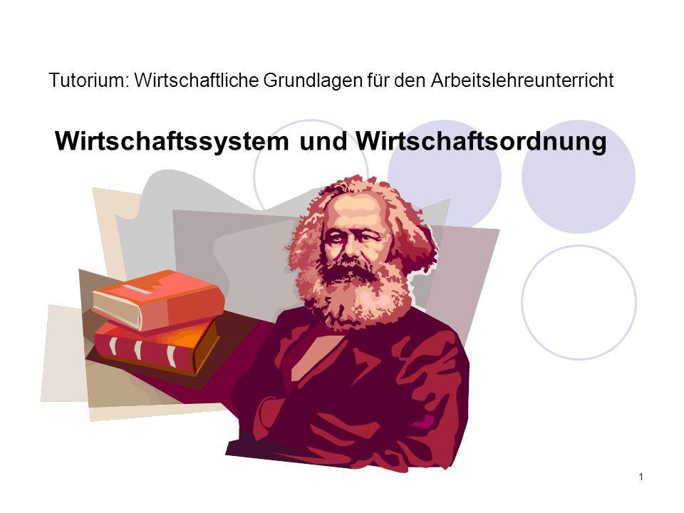 1 Tutorium: Wirtschaftliche Grundlagen für den Arbeitslehreunterricht Wirtschaftssystem und Wirtschaftsordnung