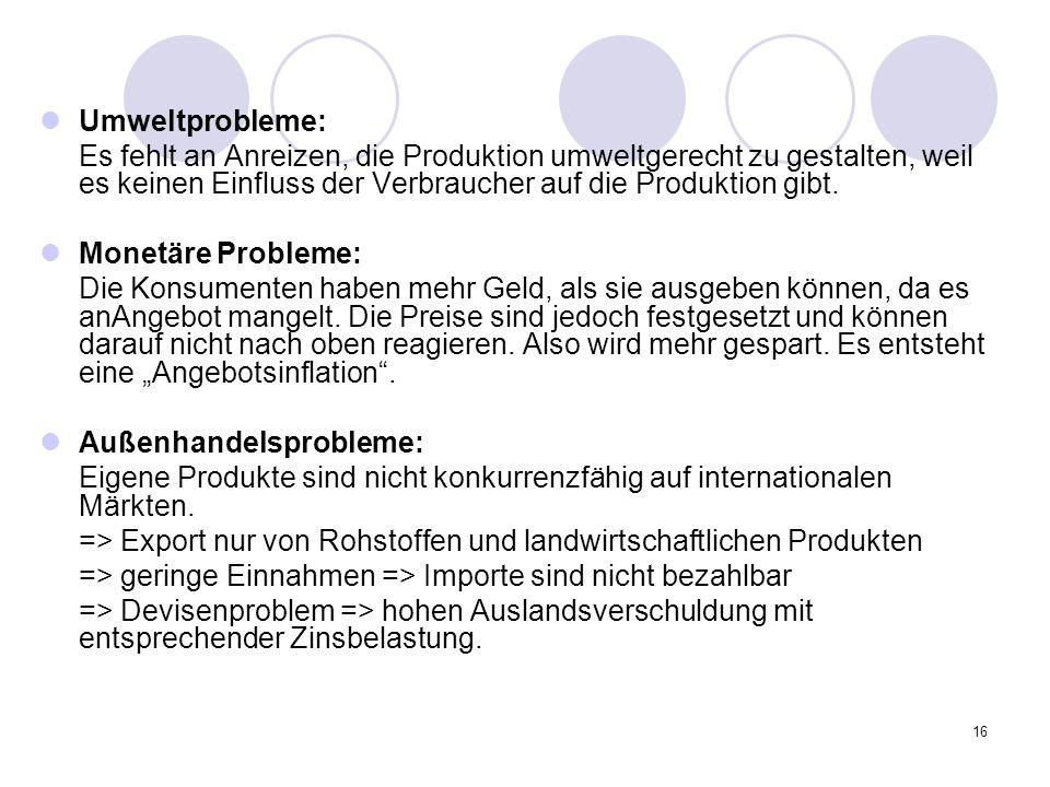 16 Umweltprobleme: Es fehlt an Anreizen, die Produktion umweltgerecht zu gestalten, weil es keinen Einfluss der Verbraucher auf die Produktion gibt. M