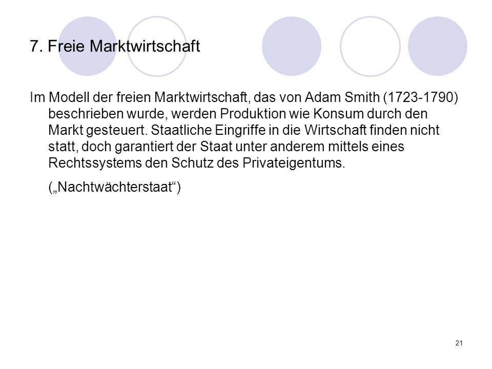 21 7. Freie Marktwirtschaft Im Modell der freien Marktwirtschaft, das von Adam Smith (1723-1790) beschrieben wurde, werden Produktion wie Konsum durch