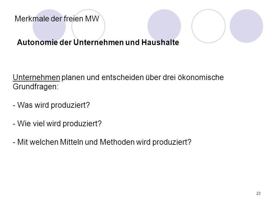 23 Merkmale der freien MW Autonomie der Unternehmen und Haushalte Unternehmen planen und entscheiden über drei ökonomische Grundfragen: - Was wird pro