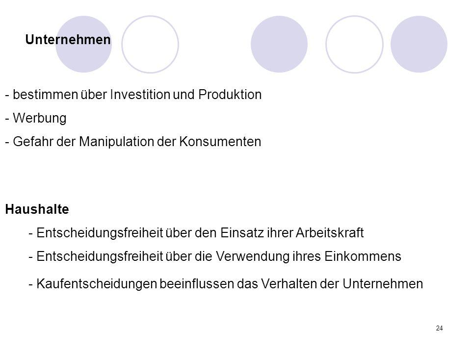 24 - bestimmen über Investition und Produktion - Werbung - Gefahr der Manipulation der Konsumenten Haushalte - Entscheidungsfreiheit über den Einsatz
