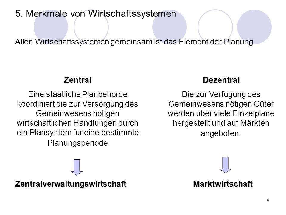 6 Allen Wirtschaftssystemen gemeinsam ist das Element der Planung. Zentral Eine staatliche Planbehörde koordiniert die zur Versorgung des Gemeinwesens