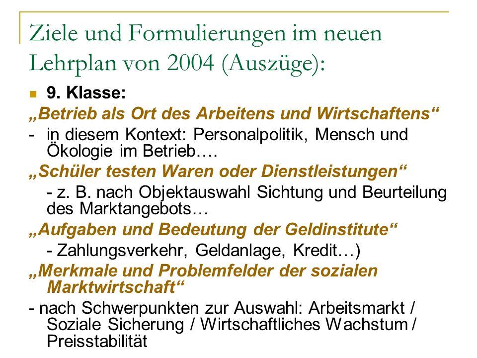 Ziele und Formulierungen im neuen Lehrplan von 2004 (Auszüge): 9. Klasse: Betrieb als Ort des Arbeitens und Wirtschaftens - in diesem Kontext: Persona