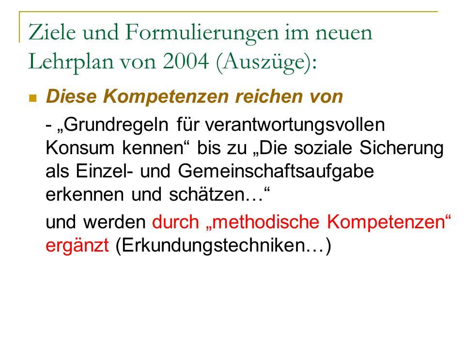 Ziele und Formulierungen im neuen Lehrplan von 2004 (Auszüge): Diese Kompetenzen reichen von - Grundregeln für verantwortungsvollen Konsum kennen bis