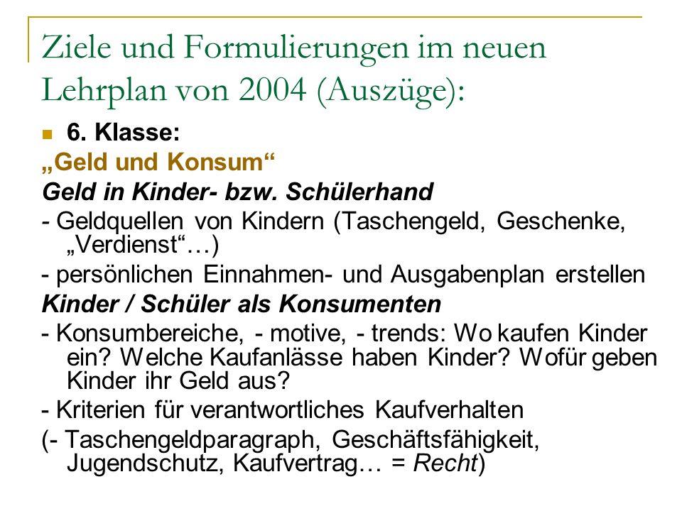 Ziele und Formulierungen im neuen Lehrplan von 2004 (Auszüge): 6. Klasse: Geld und Konsum Geld in Kinder- bzw. Schülerhand - Geldquellen von Kindern (