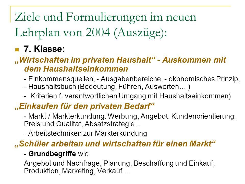 Ziele und Formulierungen im neuen Lehrplan von 2004 (Auszüge): 7. Klasse: Wirtschaften im privaten Haushalt - Auskommen mit dem Haushaltseinkommen - E