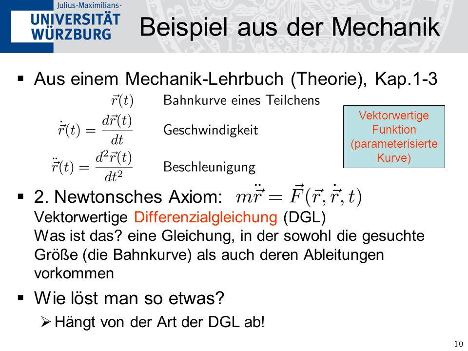 10 Beispiel aus der Mechanik Aus einem Mechanik-Lehrbuch (Theorie), Kap.1-3 2. Newtonsches Axiom: Vektorwertige Differenzialgleichung (DGL) Was ist da
