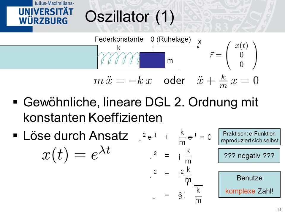 11 Gewöhnliche, lineare DGL 2. Ordnung mit konstanten Koeffizienten Löse durch Ansatz Oszillator (1) 0 (Ruhelage) x Federkonstante k Praktisch: e-Funk