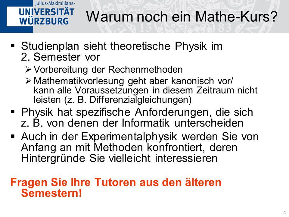 4 Warum noch ein Mathe-Kurs? Studienplan sieht theoretische Physik im 2. Semester vor Vorbereitung der Rechenmethoden Mathematikvorlesung geht aber ka