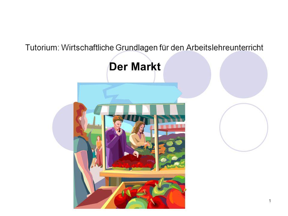 1 Tutorium: Wirtschaftliche Grundlagen für den Arbeitslehreunterricht Der Markt