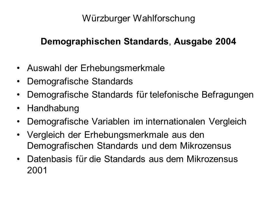 Würzburger Wahlforschung Demographischen Standards, Ausgabe 2004 Auswahl der Erhebungsmerkmale Demografische Standards Demografische Standards für telefonische Befragungen Handhabung Demografische Variablen im internationalen Vergleich Vergleich der Erhebungsmerkmale aus den Demografischen Standards und dem Mikrozensus Datenbasis für die Standards aus dem Mikrozensus 2001