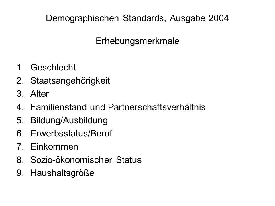 Demographischen Standards, Ausgabe 2004 Erhebungsmerkmale 1.Geschlecht 2.Staatsangehörigkeit 3.Alter 4.Familienstand und Partnerschaftsverhältnis 5.Bildung/Ausbildung 6.Erwerbsstatus/Beruf 7.Einkommen 8.Sozio-ökonomischer Status 9.Haushaltsgröße