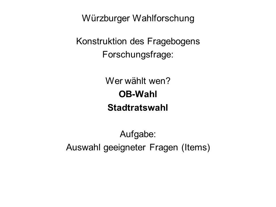Würzburger Wahlforschung Konstruktion des Fragebogens Forschungsfrage: Wer wählt wen.