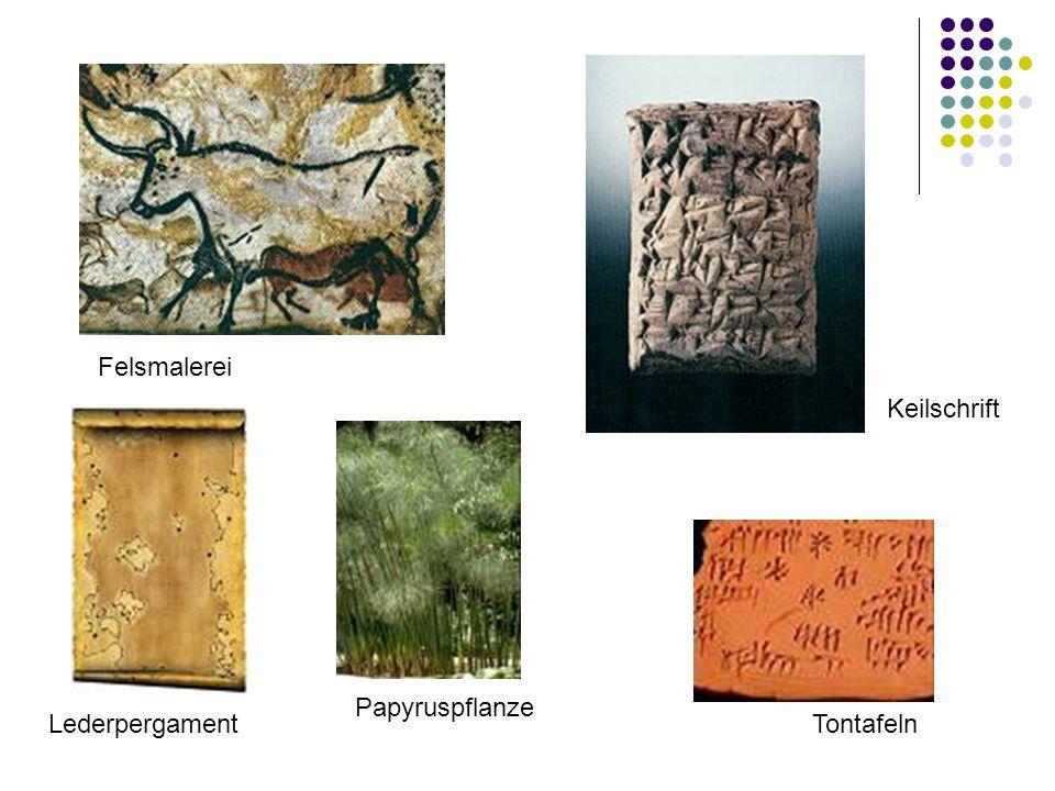 Felsmalerei Keilschrift Lederpergament Papyruspflanze Tontafeln
