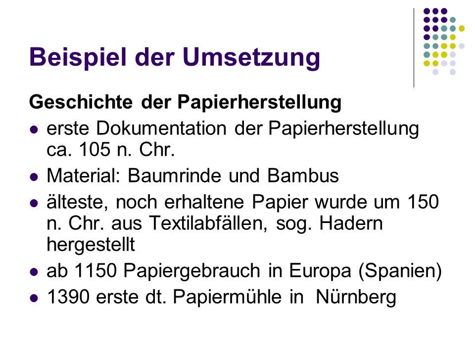 Geschichte der Papierherstellung erste Dokumentation der Papierherstellung ca. 105 n. Chr. Material: Baumrinde und Bambus älteste, noch erhaltene Papi